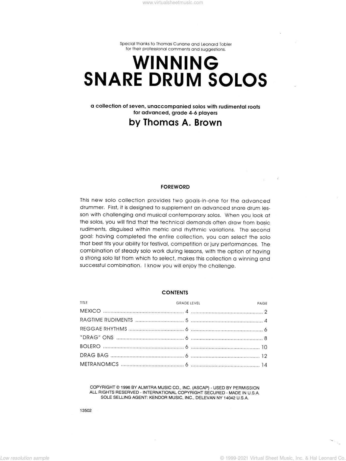 Winning Snare Drum Solos sheet music for percussions by Tom Brown. Score Image Preview.