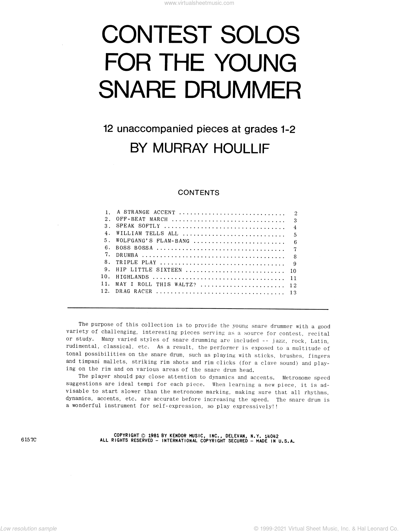 Contest Solos For The Young Snare Drummer sheet music for percussions by Houllif. Score Image Preview.