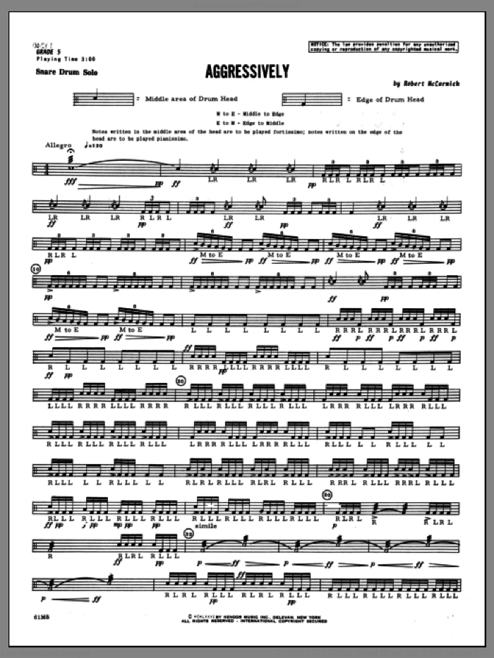 Aggressively sheet music for percussions by Mccormick, classical score, intermediate. Score Image Preview.