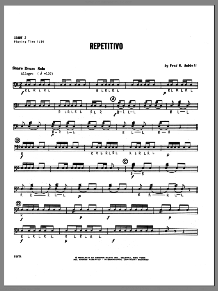 Repetitivo sheet music for percussions by Hubbell, classical score, intermediate. Score Image Preview.
