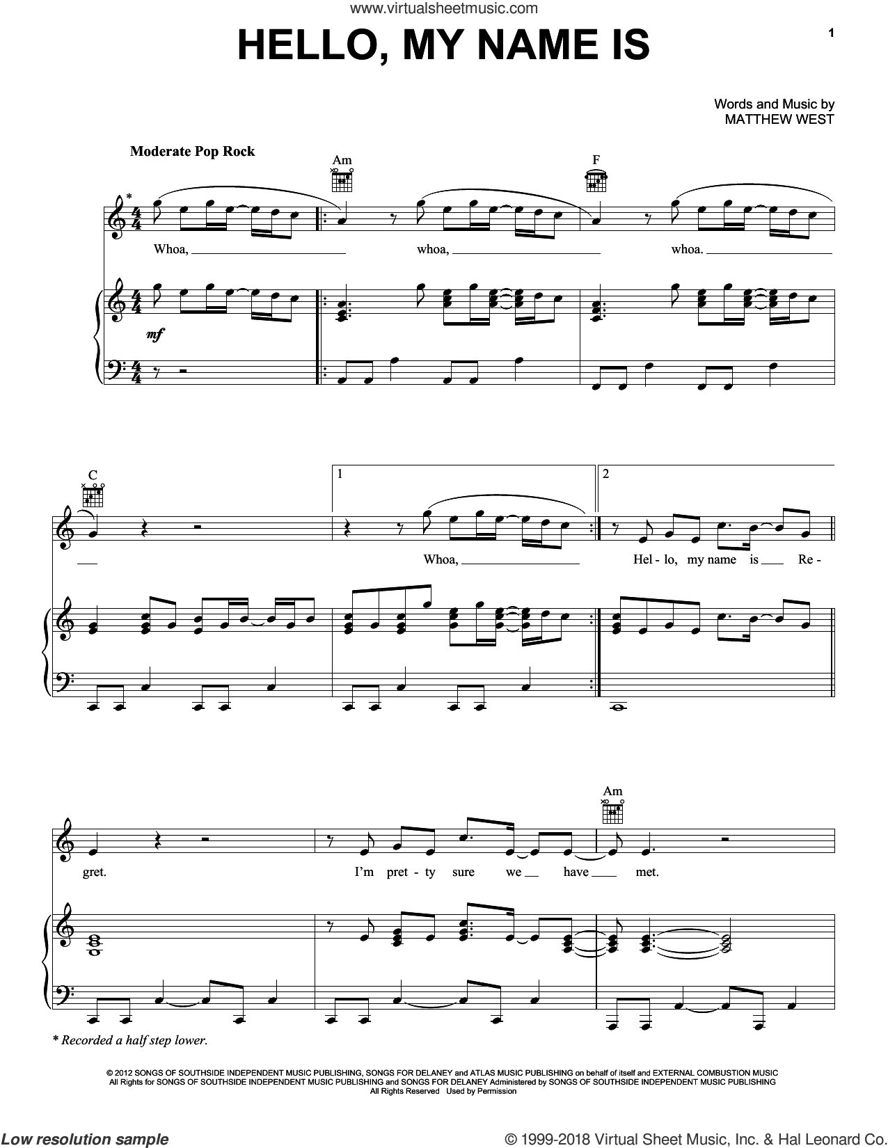 Hello, My Name Is sheet music for voice, piano or guitar by Matthew West, intermediate skill level