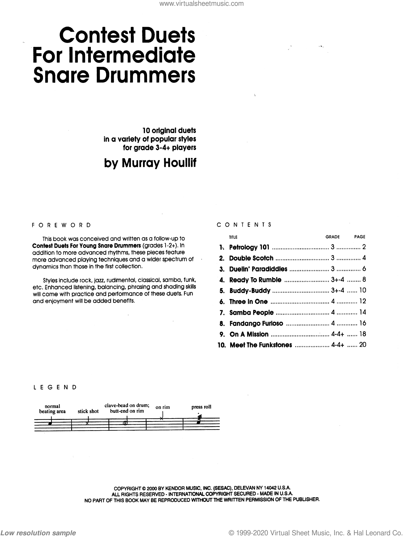Contest Duets For The Intermediate Snare Drummers sheet music for percussions by Houllif, classical score, intermediate skill level