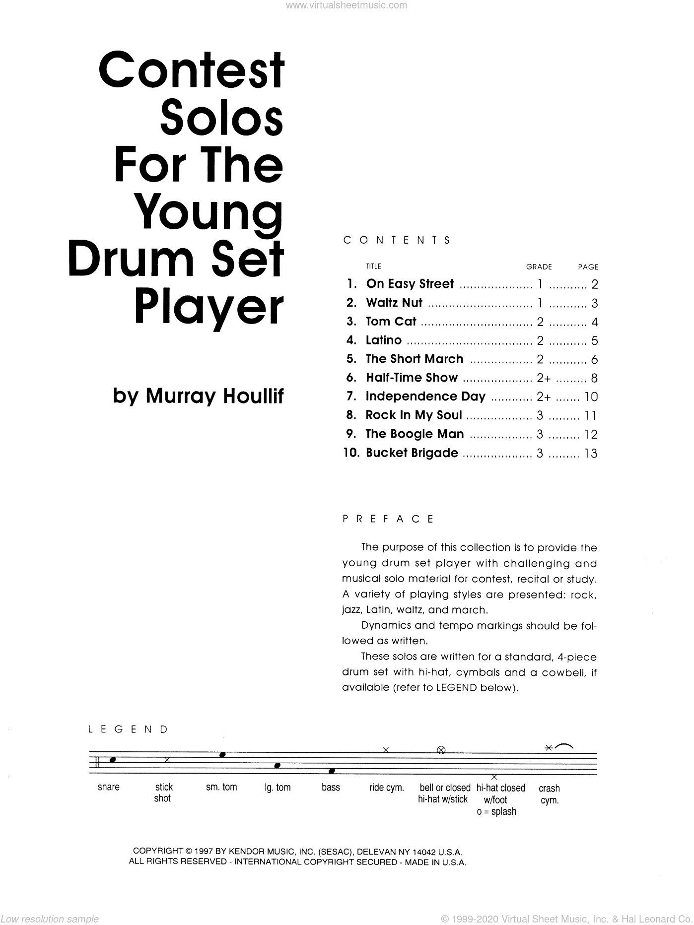 Contest Solos For The Young Drum Set Player sheet music for percussions by Houllif, classical score, intermediate