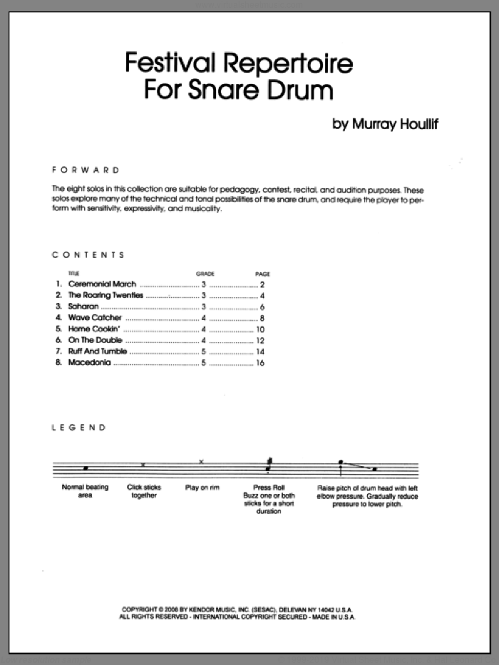 Festival Repertoire For Snare Drum sheet music for percussions by Houllif. Score Image Preview.