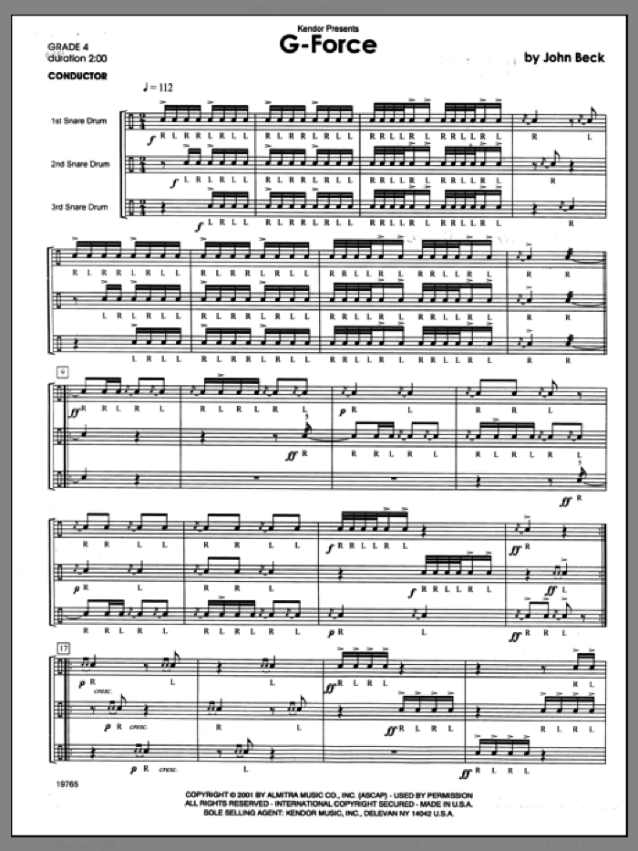 G-Force (COMPLETE) sheet music for percussions by Beck Hansen, classical score, intermediate skill level