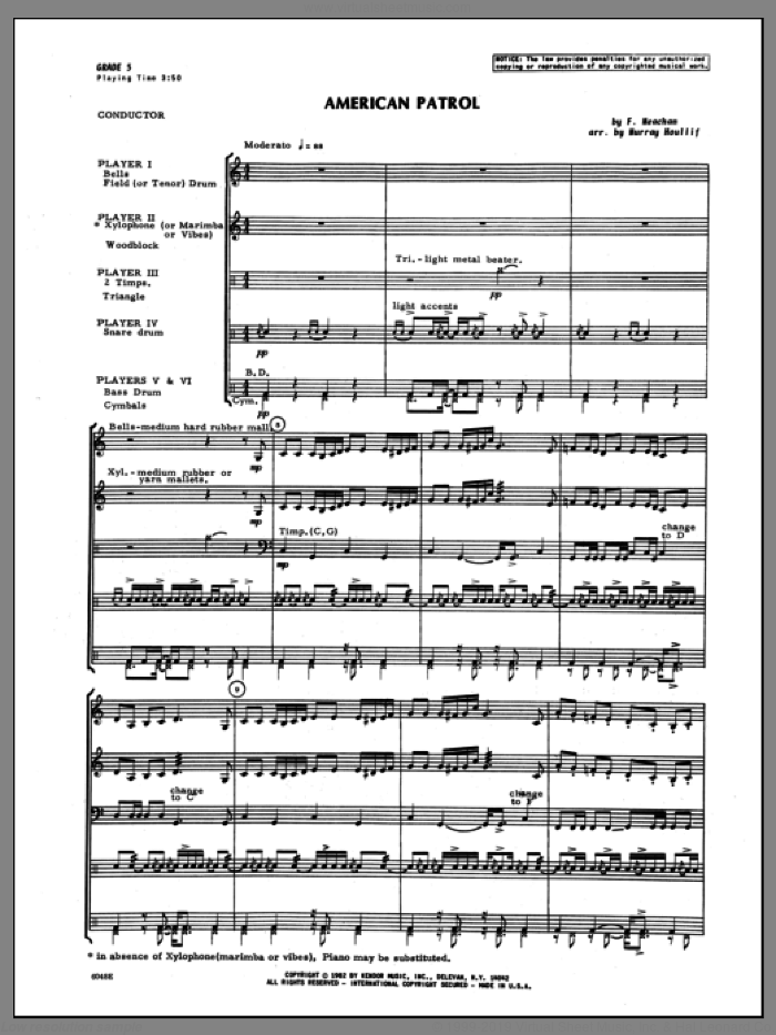 American Patrol sheet music for percussions (full score) by Meacham