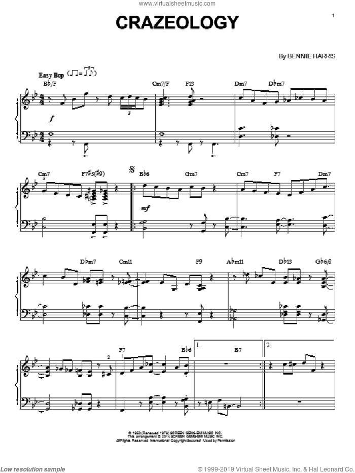 Crazeology sheet music for piano solo by Charlie Parker and Bennie Harris, intermediate skill level