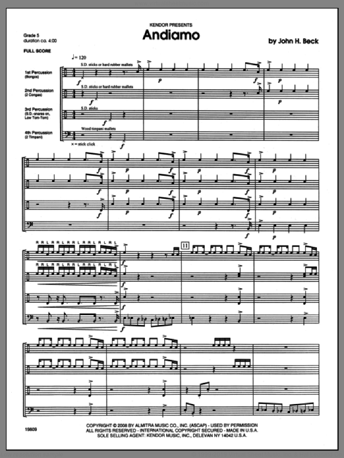 Andiamo sheet music for percussions (full score) by Beck Hansen