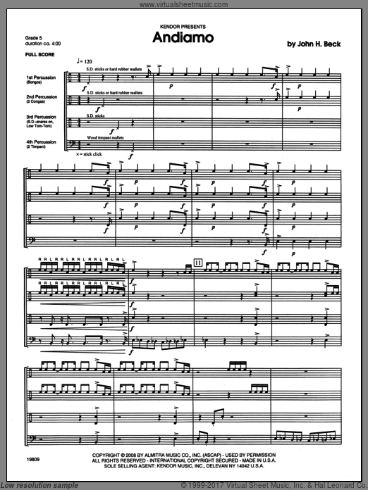 Andiamo (COMPLETE) sheet music for percussions by Beck Hansen