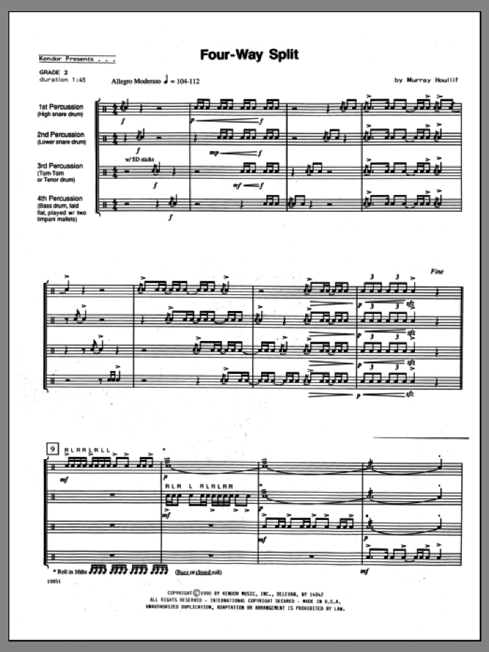 Four-Way Split (COMPLETE) sheet music for percussions by Houllif, classical score, intermediate