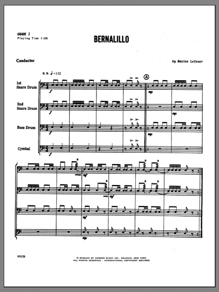 Bernalillo (COMPLETE) sheet music for percussions by Lefever, classical score, intermediate
