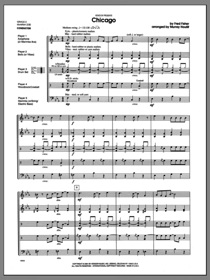 Chicago (COMPLETE) sheet music for percussions by Houllif, classical score, intermediate. Score Image Preview.