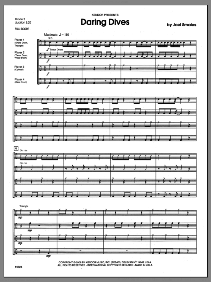 Daring Dives (COMPLETE) sheet music for percussions by Smales, classical score, intermediate. Score Image Preview.