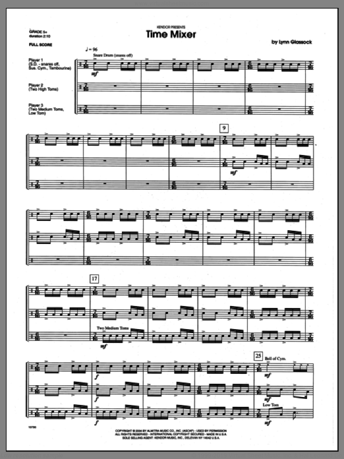 Time Mixer (COMPLETE) sheet music for percussions by Lynn Glassock, classical score, intermediate skill level