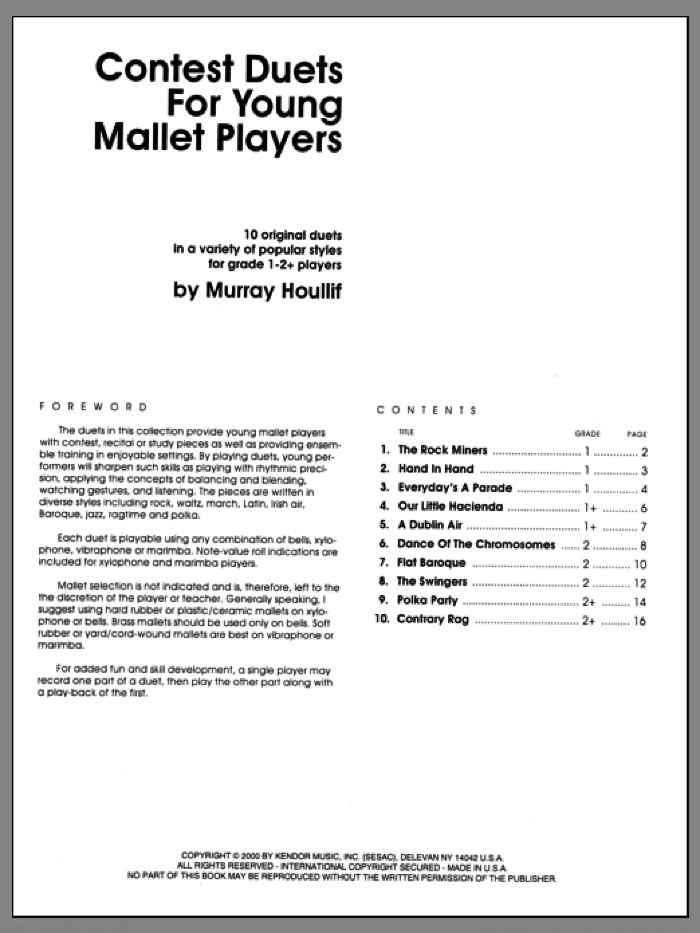 Contest Duets For The Young Mallet Players sheet music for percussions by Houllif. Score Image Preview.