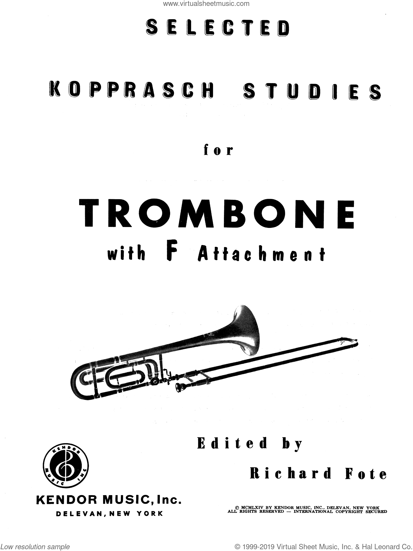 Selected Kopprasch Studies sheet music for trombone solo by Fote. Score Image Preview.