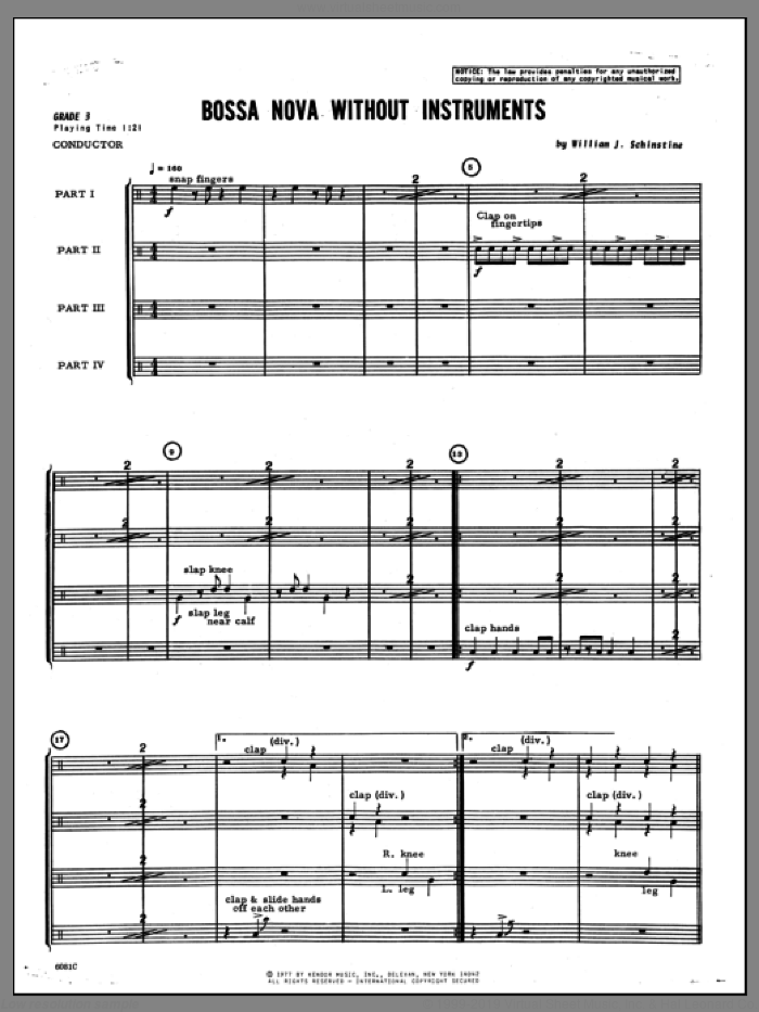 Bossa Nova Without Instruments (COMPLETE) sheet music for percussions by Schinstine, classical score, intermediate