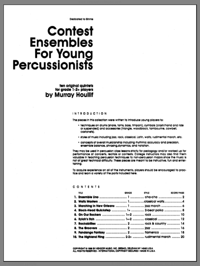 Contest Ensembles For Young Percussionists (COMPLETE) sheet music for percussions by Houllif, classical score, intermediate