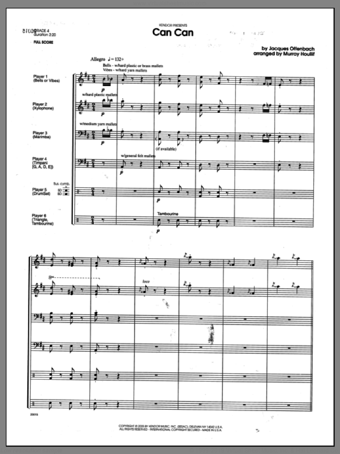 Can Can (COMPLETE) sheet music for percussions by Houllif and Offenbach, classical score, intermediate. Score Image Preview.