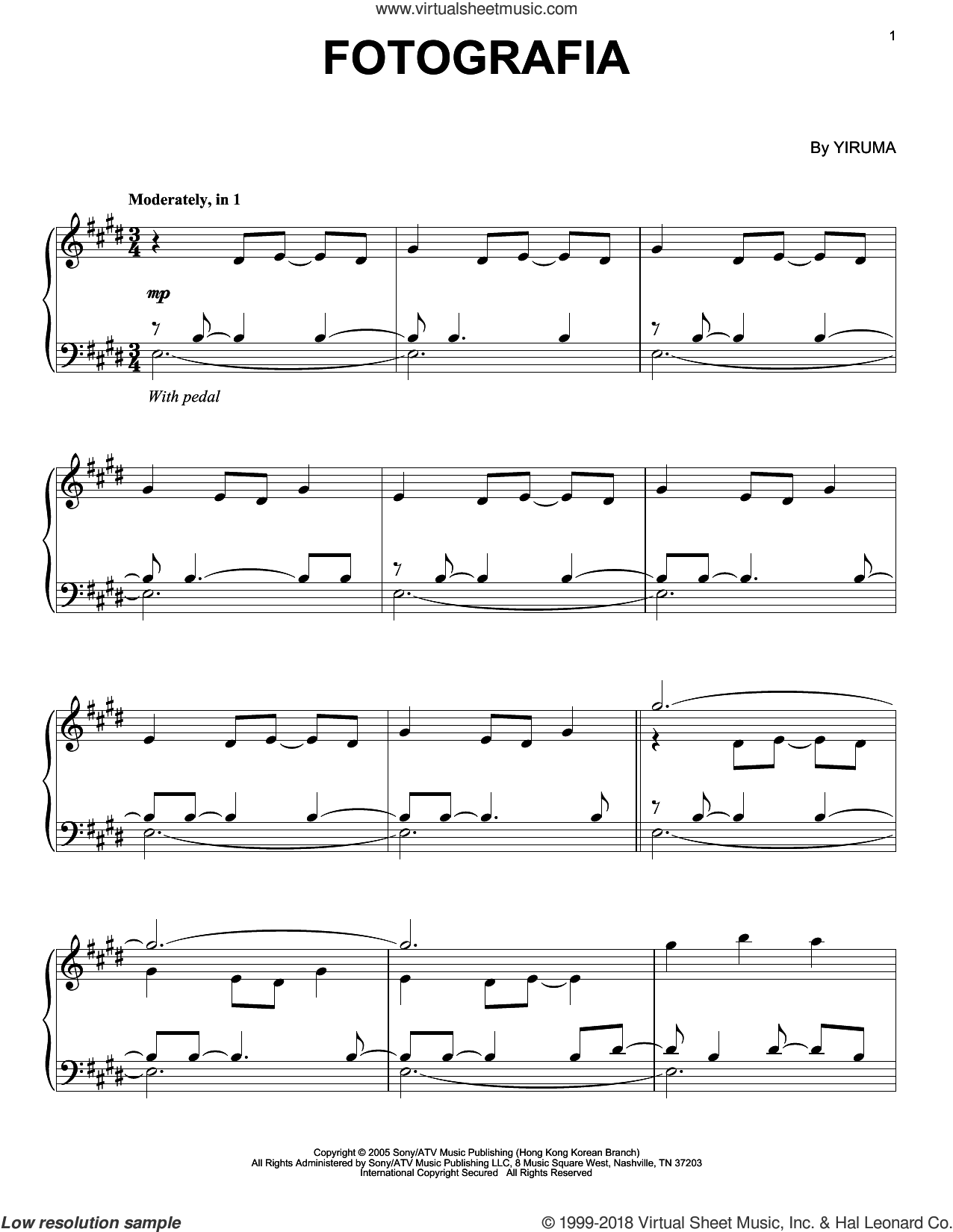 Fotografia sheet music for piano solo by Yiruma, classical score, intermediate skill level