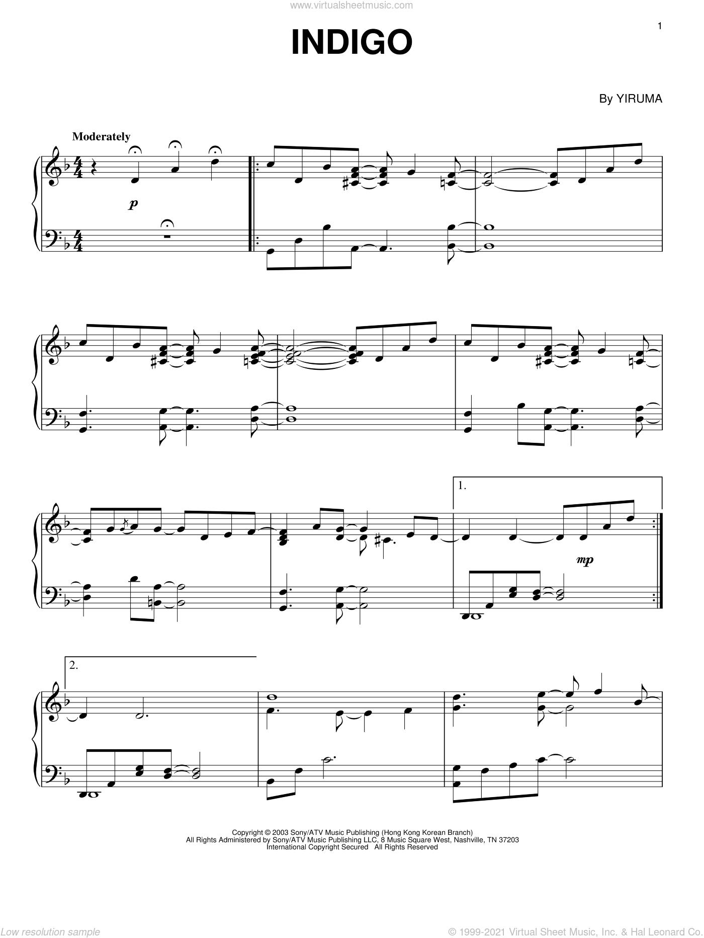 Indigo sheet music for piano solo by Yiruma, classical score, intermediate skill level