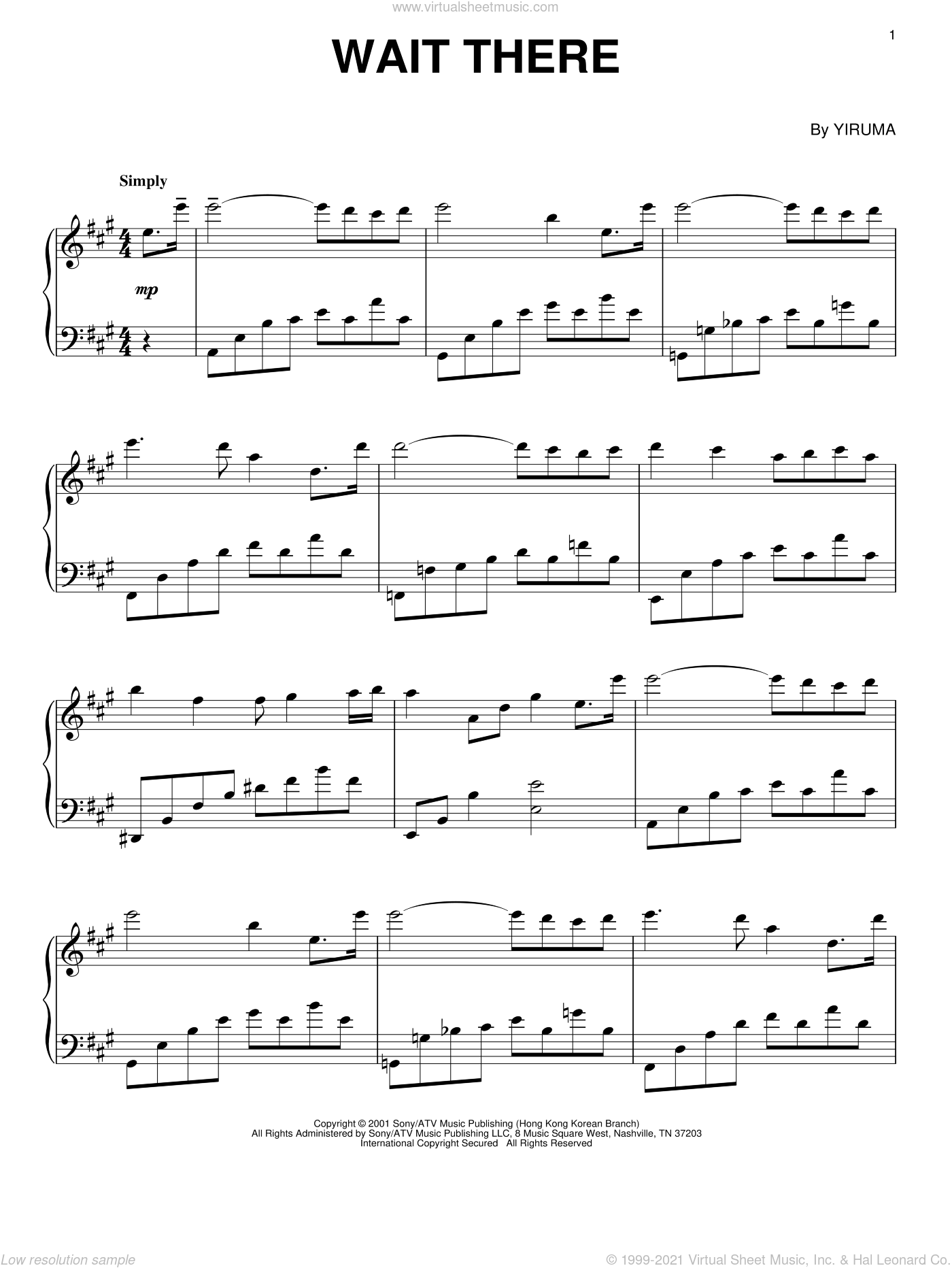 Wait There sheet music for piano solo by Yiruma, classical score, intermediate skill level