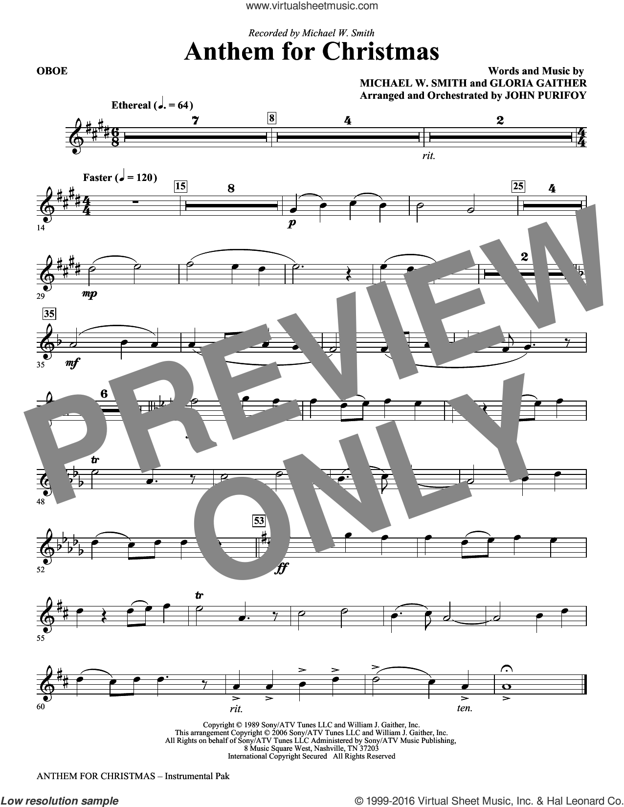 Anthem for Christmas sheet music for orchestra/band (oboe) by Michael W. Smith, Gloria Gaither and John Purifoy, intermediate skill level