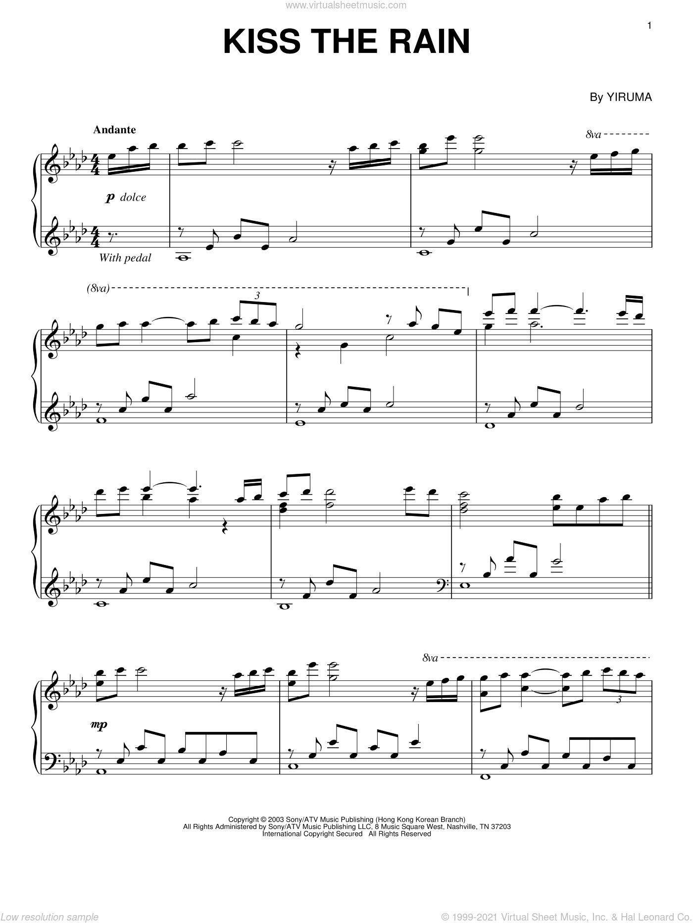 Kiss The Rain sheet music for piano solo by Yiruma. Score Image Preview.