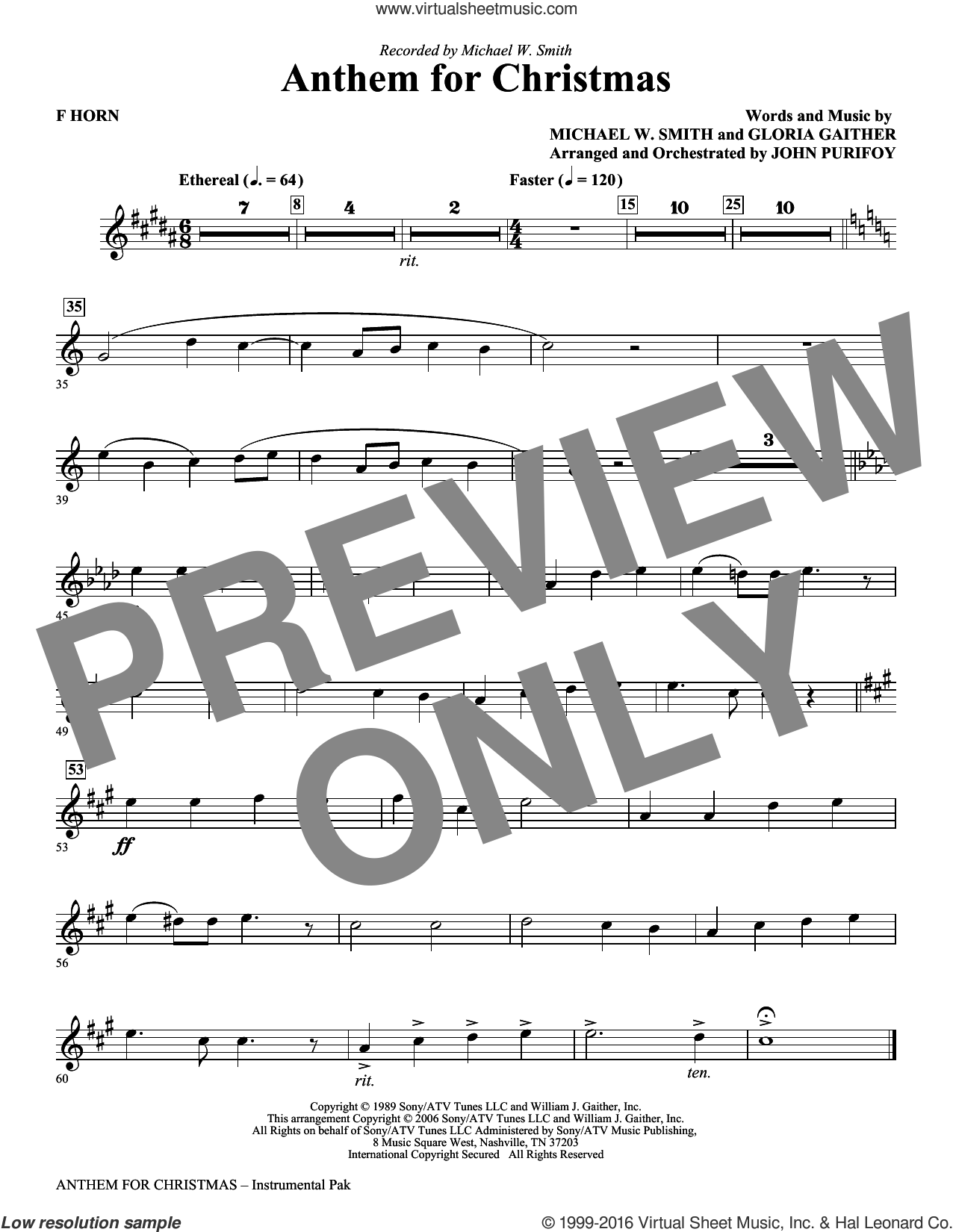 Anthem for Christmas sheet music for orchestra/band (f horn) by Gloria Gaither, John Purifoy and Michael W. Smith. Score Image Preview.
