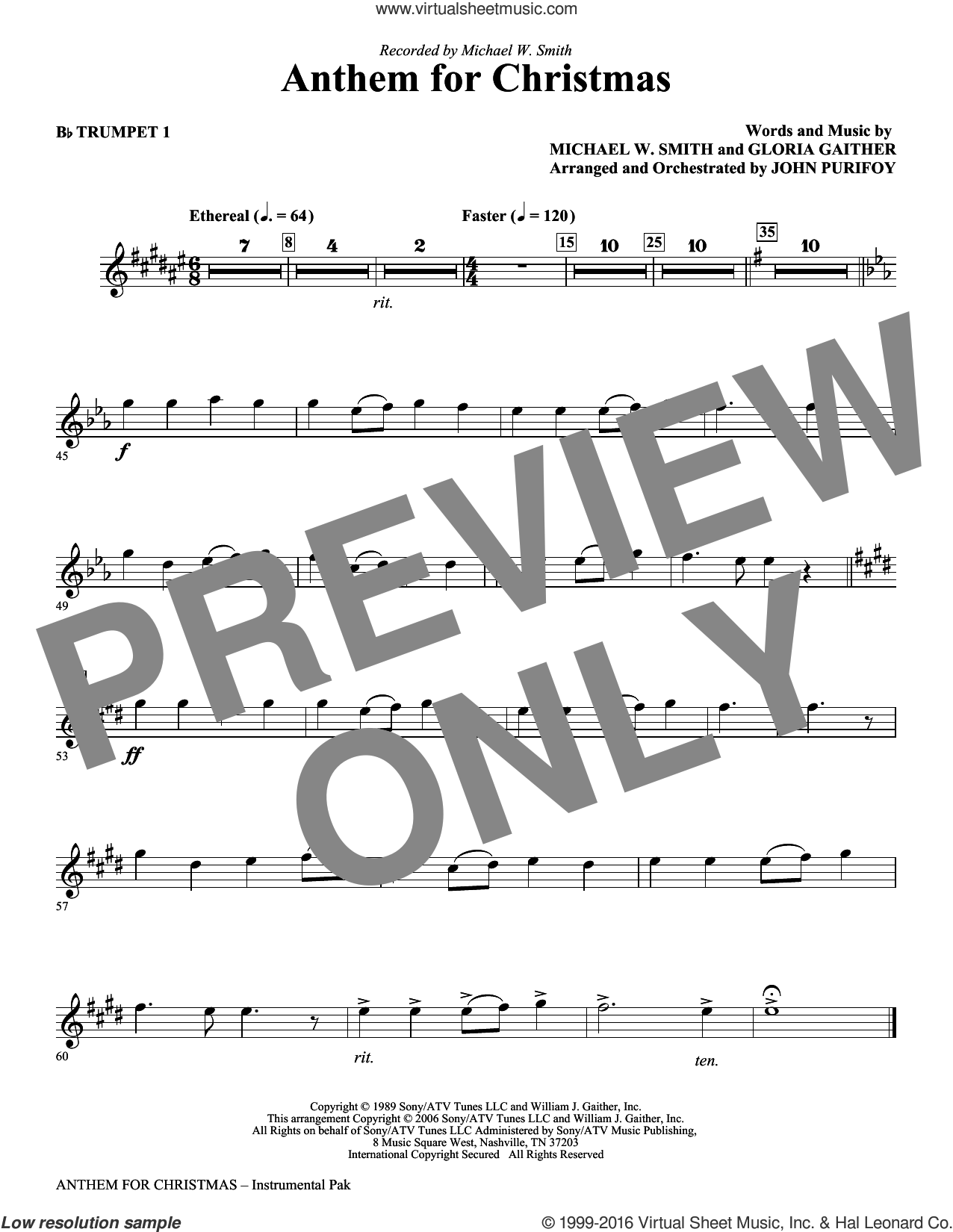 Anthem for Christmas sheet music for orchestra/band (bb trumpet 1) by Michael W. Smith, Gloria Gaither and John Purifoy, intermediate skill level