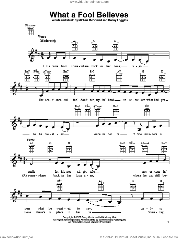 What A Fool Believes sheet music for ukulele by The Doobie Brothers, intermediate skill level