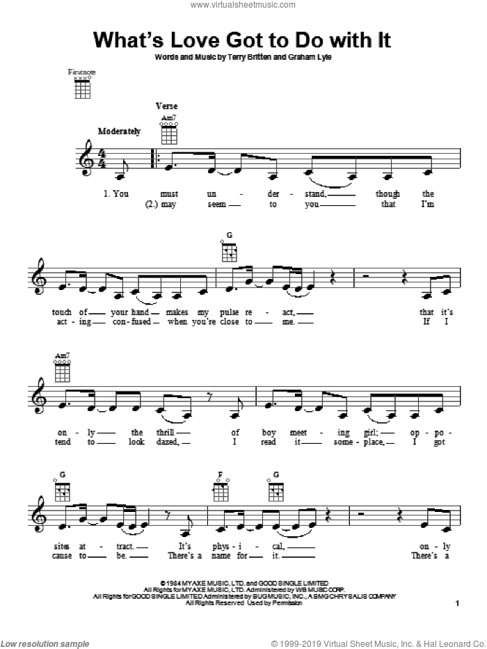 What's Love Got To Do With It sheet music for ukulele by Tina Turner. Score Image Preview.