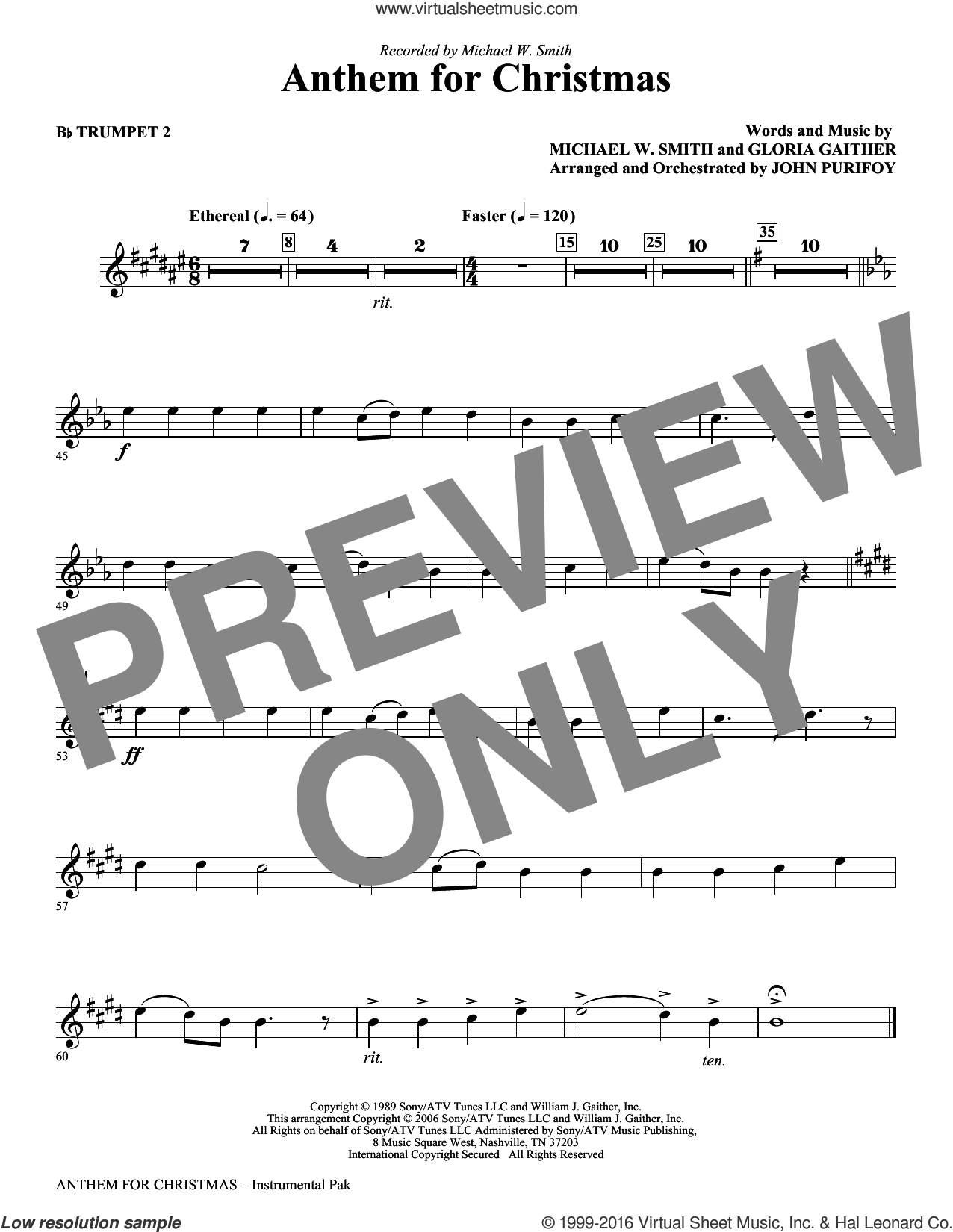 Anthem for Christmas sheet music for orchestra/band (Bb trumpet 2) by Gloria Gaither, John Purifoy and Michael W. Smith. Score Image Preview.