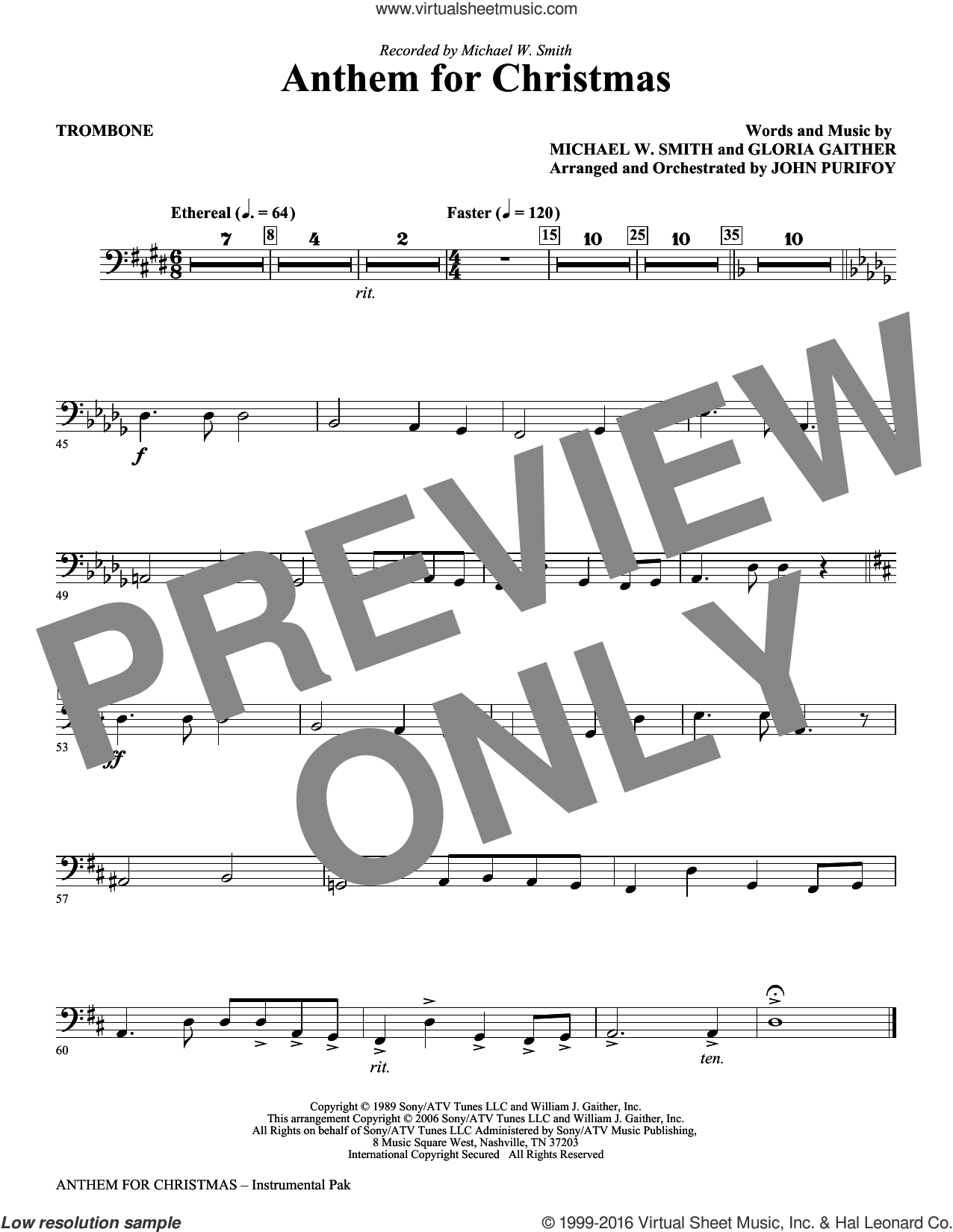 Anthem for Christmas sheet music for orchestra/band (trombone) by Michael W. Smith, Gloria Gaither and John Purifoy, intermediate skill level