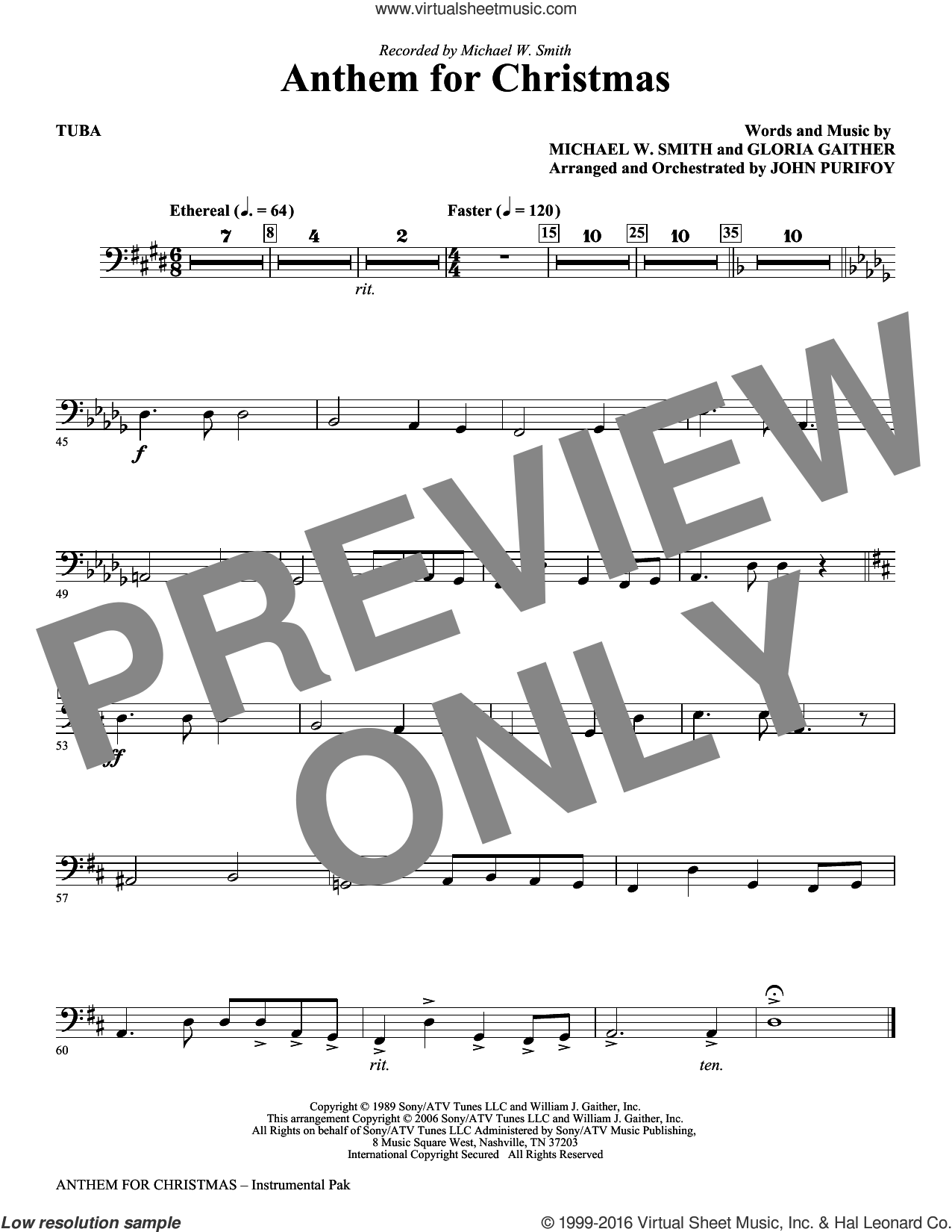 Anthem for Christmas sheet music for orchestra/band (tuba) by Michael W. Smith, Gloria Gaither and John Purifoy, intermediate skill level