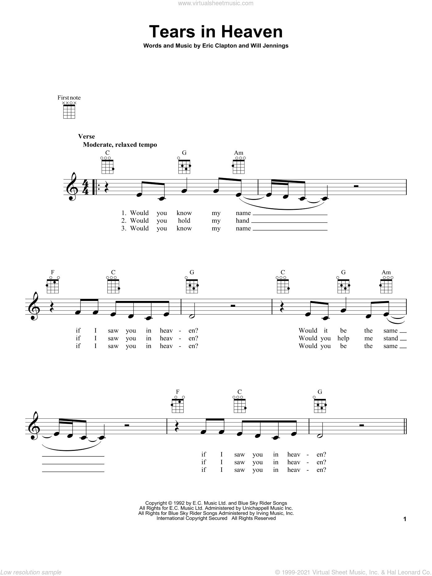 Tears In Heaven sheet music for ukulele by Eric Clapton, intermediate skill level