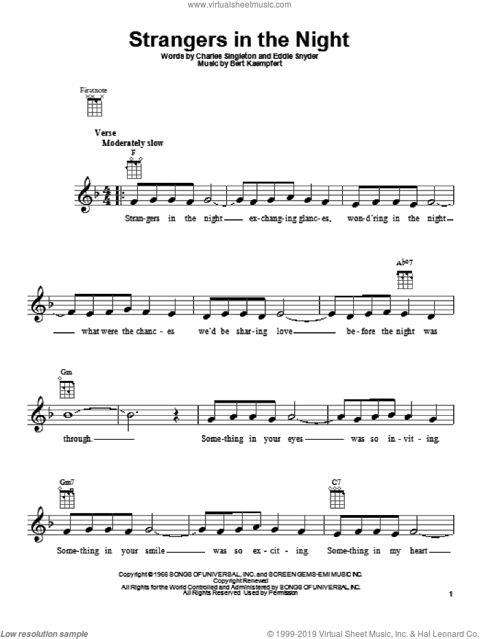 Strangers In The Night sheet music for ukulele by Frank Sinatra, intermediate