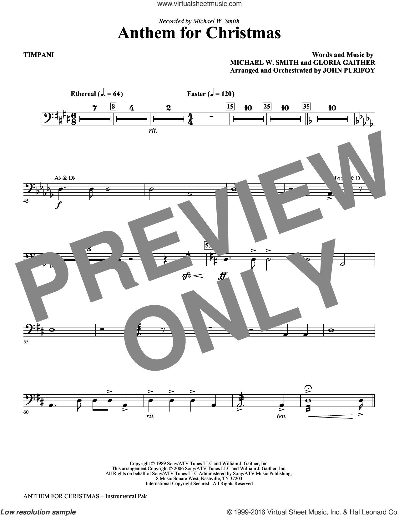 Anthem for Christmas sheet music for orchestra/band (timpani) by Gloria Gaither, John Purifoy and Michael W. Smith. Score Image Preview.