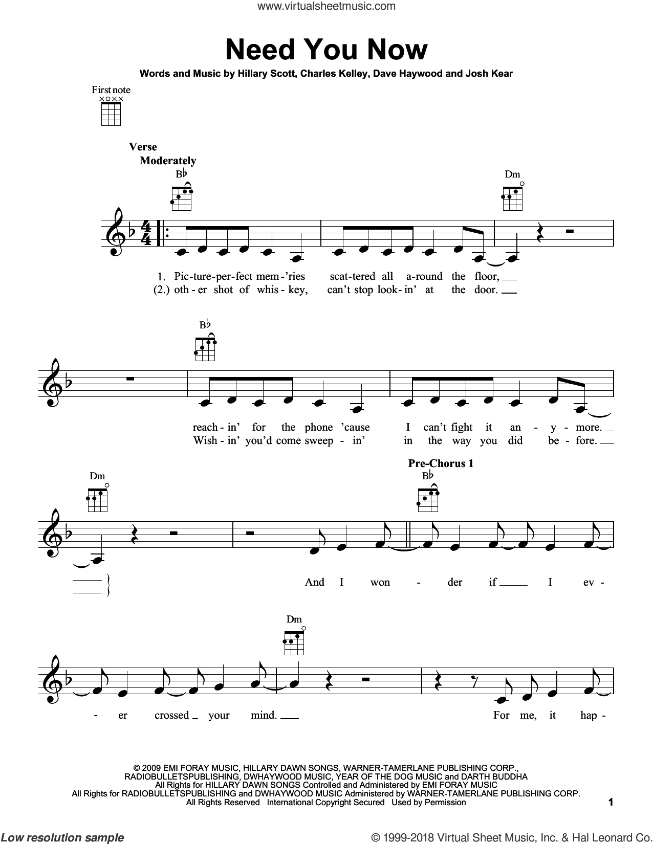 Need You Now sheet music for ukulele by Lady Antebellum. Score Image Preview.
