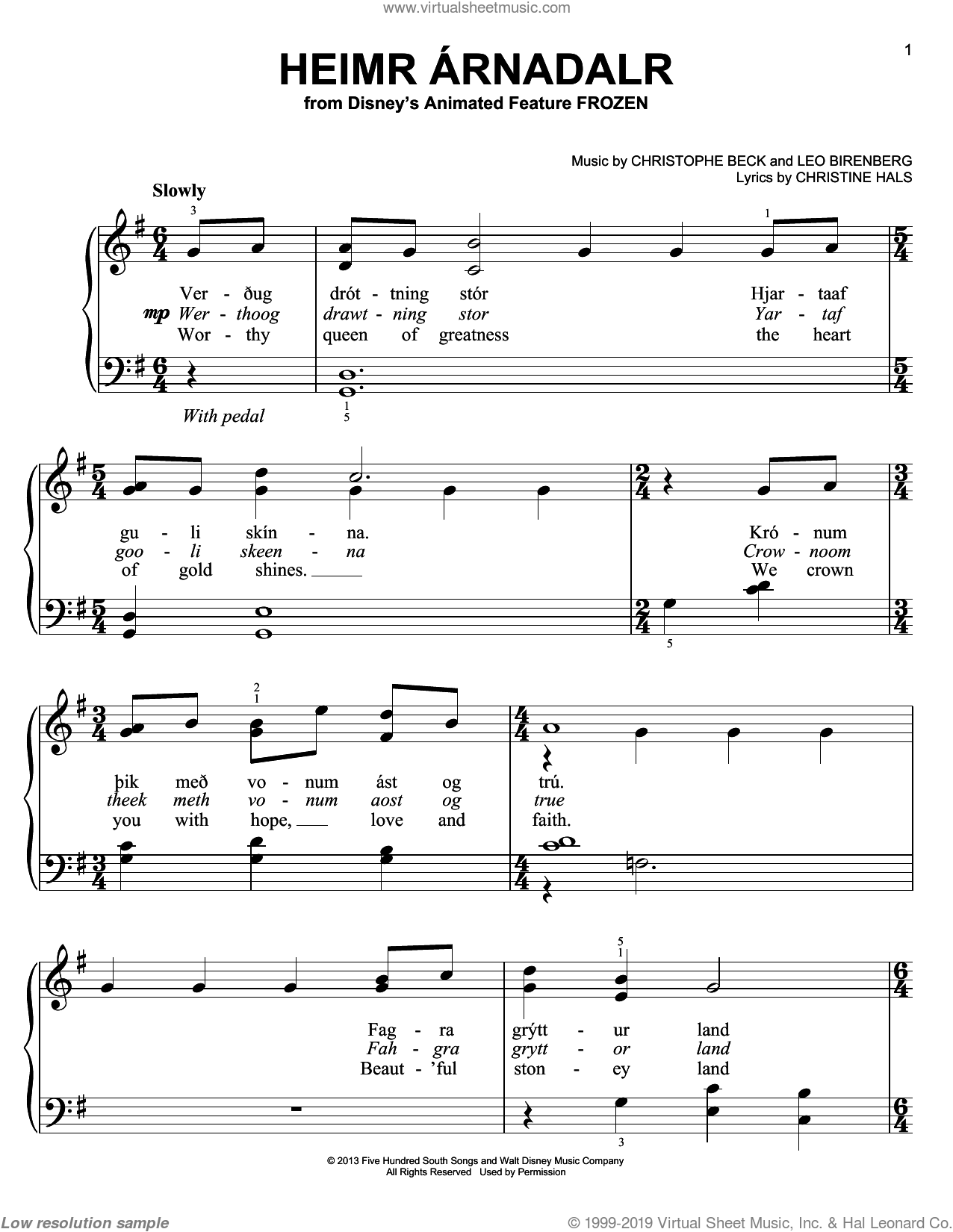 Heimr Arnadalr sheet music for piano solo by Christophe Beck and Christine Hals, easy piano. Score Image Preview.