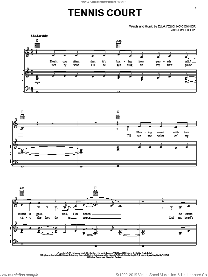 Tennis Court sheet music for voice, piano or guitar by Lorde. Score Image Preview.