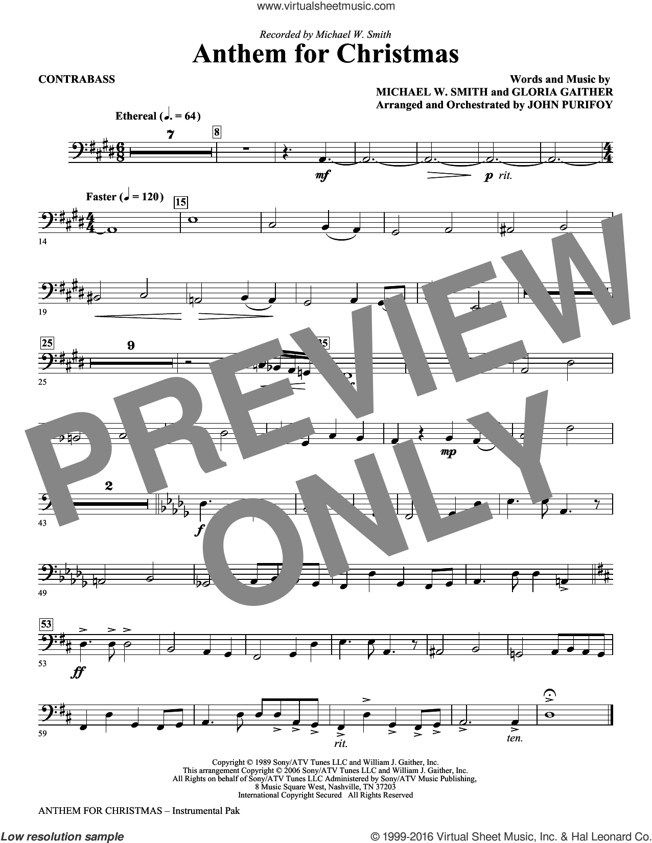 Anthem for Christmas sheet music for orchestra/band (contrabass) by Michael W. Smith, Gloria Gaither and John Purifoy, intermediate skill level