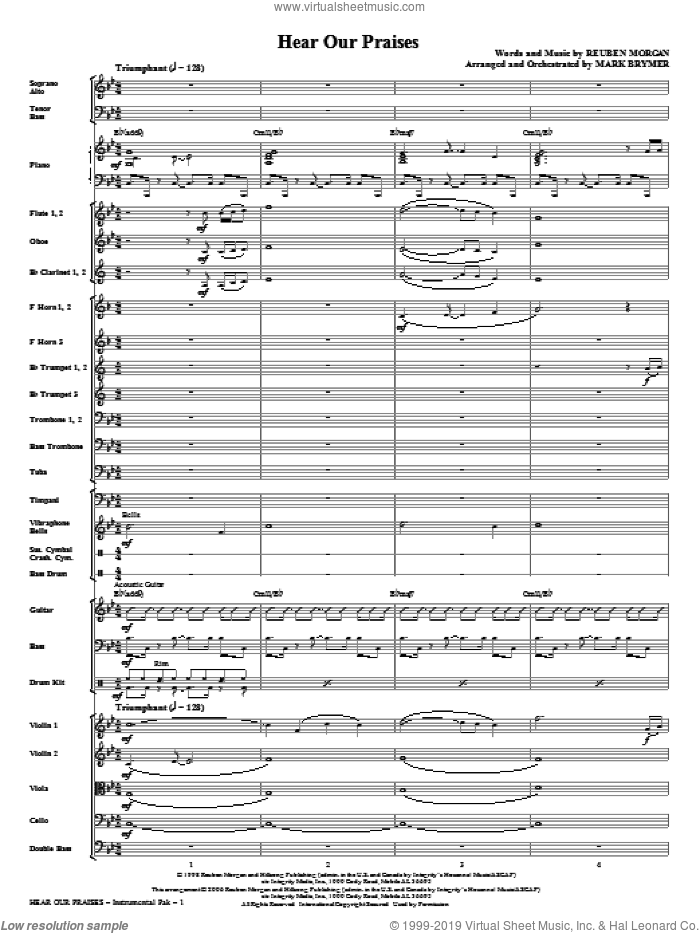 Hear Our Praises (complete set of parts) sheet music for orchestra/band (Orchestra) by Reuben Morgan and Mark Brymer, intermediate skill level