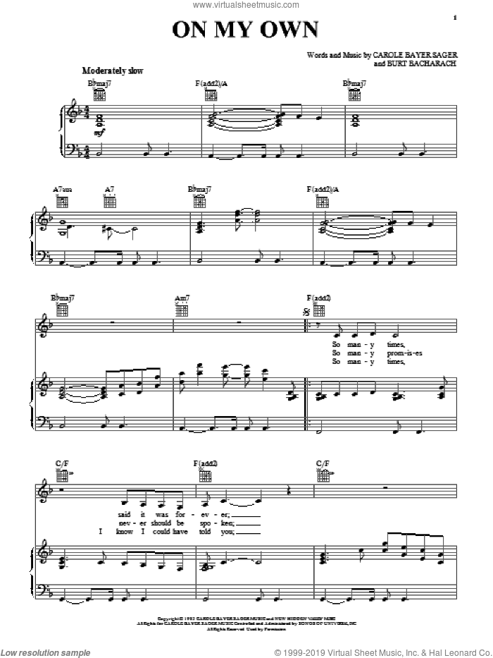 On My Own sheet music for voice, piano or guitar by Carole Bayer Sager, Michael McDonald, Reba McEntire and Burt Bacharach. Score Image Preview.