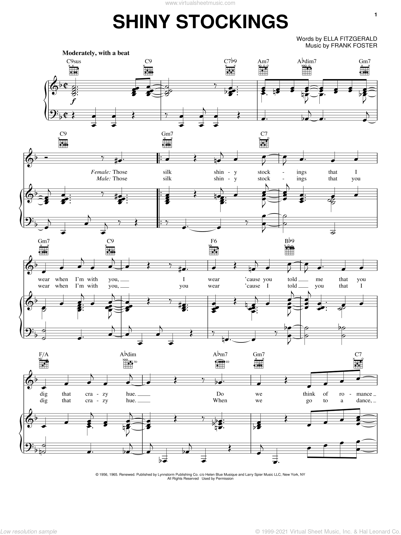 Shiny Stockings sheet music for voice, piano or guitar by Ella Fitzgerald. Score Image Preview.