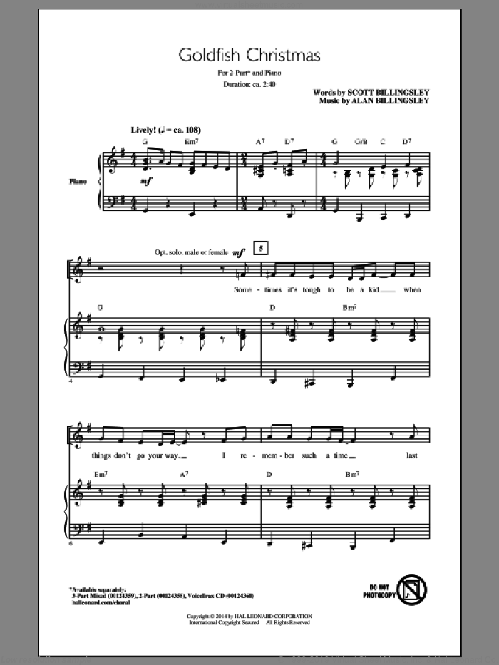 Goldfish Christmas sheet music for choir (duets) by Alan Billingsley. Score Image Preview.