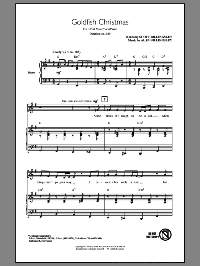 Goldfish Christmas sheet music for choir (chamber ensemble) by Scott Billingsley and Alan Billingsley. Score Image Preview.