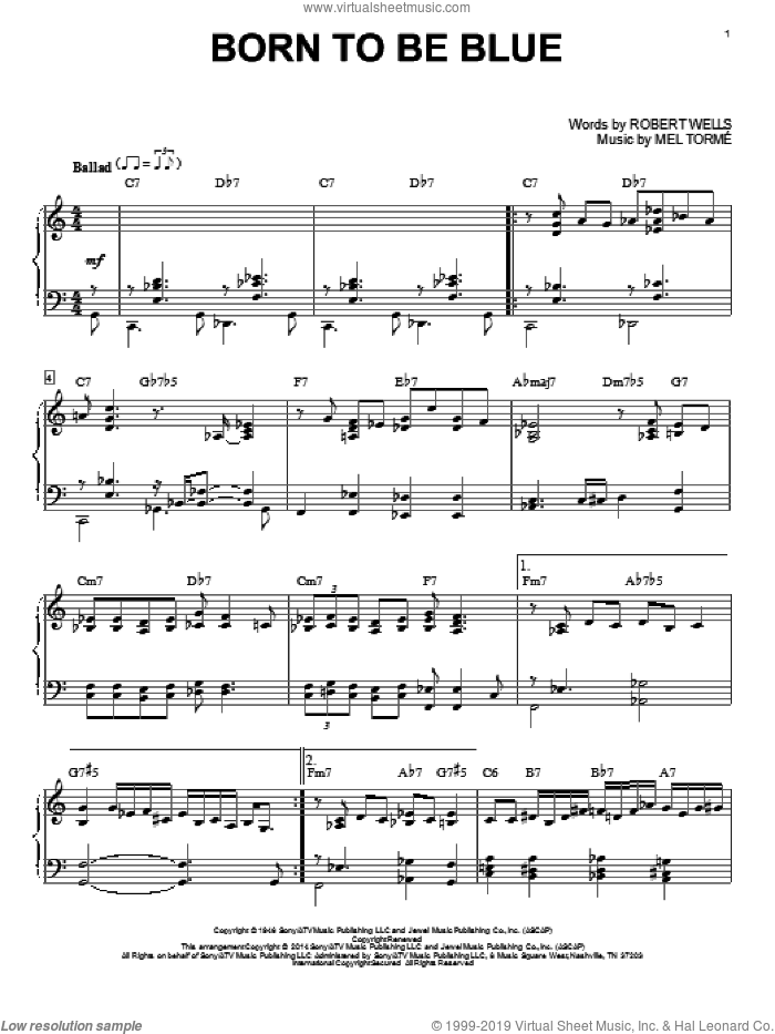 Born To Be Blue sheet music for piano solo by Mel Torme, intermediate skill level