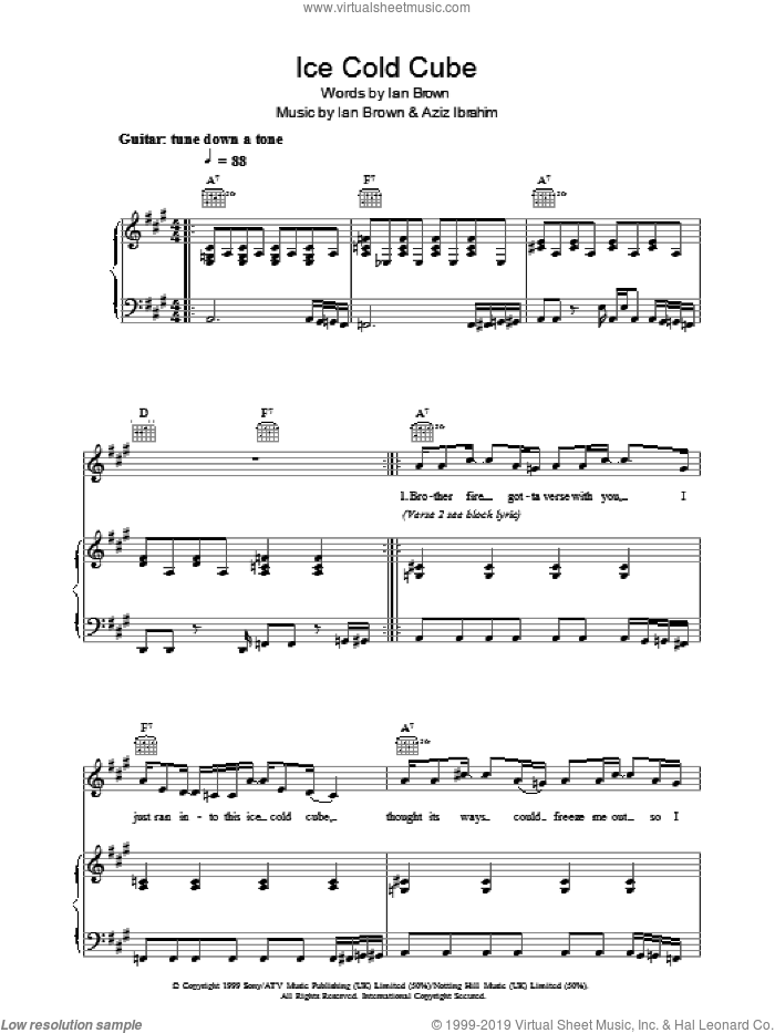 Ice Cold Cube sheet music for voice, piano or guitar by Ian Brown and Aziz Ibrahim, intermediate skill level