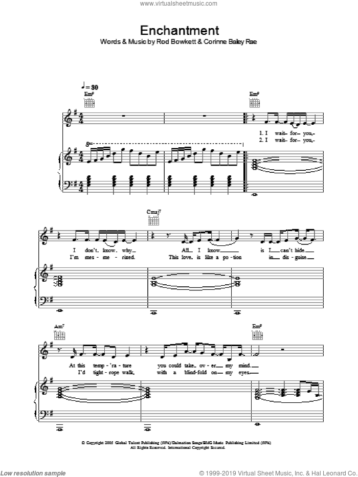 Enchantment sheet music for voice, piano or guitar by Rod Bowkett and Corinne Bailey Rae. Score Image Preview.